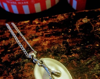 Cherry Blossom Demitasse Spoon Bowl Pendant. Free shipping within Canada.