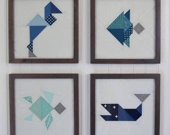 Modern Geometric Sea Creature Nursery Framed Wall Art - Ocean Themed Nursery Decor