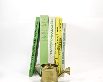 INDOOR GARDENING Book Collection, Green YEllow Decorative Books, garden Gift, old book set,  Antique Books, Book Decor,  flowers, book lover