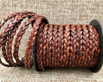 1 Yard 5mm Flat Braided Leather Cord - Antique Brown - Genuine Indian Leather -LCF5-3019A