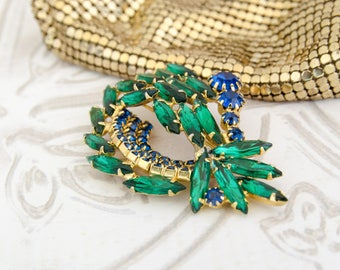Vintage Rhinestone Brooch - Delizza and Elster - Green Crystal Pin - 1950s Bridal Bouquet - Rockabilly Jewelry - Mid Century Gift For Her