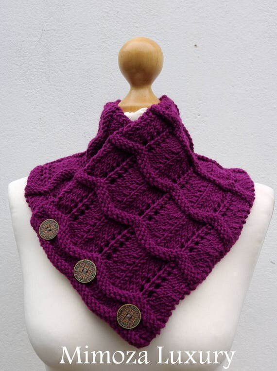 Grape Purple Merino Wool Hand Knitted Scarf, Knit scarf wrap violet Scarf, Shawl, Wrap, Neck warmer, knit scarf, purple women's knit scarf