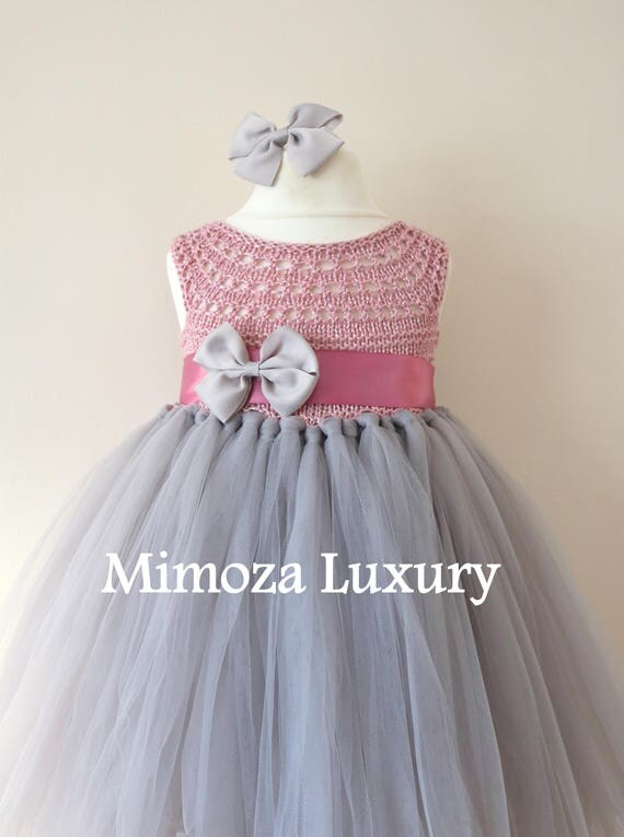 SALE size 12-18m, Ready to ship, Birthday dress tutu dress, bridesmaid dress, grey dusky pink princess dress, crochet top tulle dress