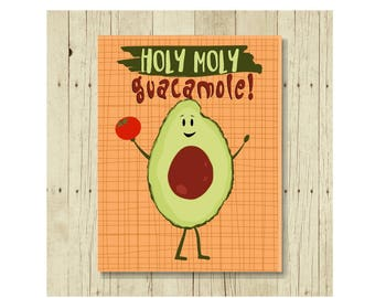 Holy Moly Guacamole Magnet, Funny Magent, Refrigerator Magnet, Magnet for Kids, Cute Fridge Magnet, Gift Under 10, Congratulations Magnet
