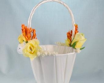 Flower Girl Basket - Yellow Roses