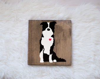 Hand Painted Border Collie Silhouette on Stained Wood, Dog Decor, Painting, Gift for Dog People, New Puppy Housewarming Gift