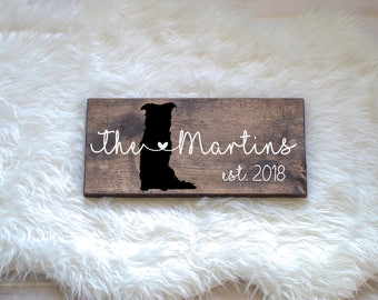 Last Name Wood Sign with Border Collie Silhouette, Wedding Signs, Last Name, Wedding Gift, Dog Wedding Gift, Anniversary Gift, Entryway