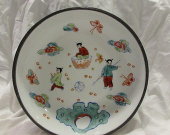 Vintage Japanese Porcelain Ware Bowl, Pewter Outer Shell, Hand Decorated in Hong Kong, 1960's