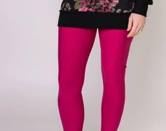 SALE, women's bamboo fleece leggings, pink, size 6, ladies ultra soft warm leggings, ready to ship