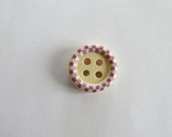 (Set of 4) purple patterned wooden button