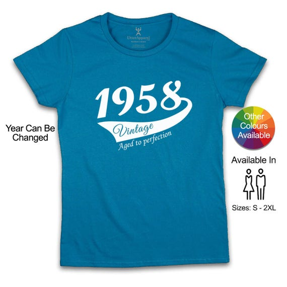 60th birthday t shirt for woman, 1958 birthday party shirt, 60th birthday for her, 60th birthday present, crew neck tee