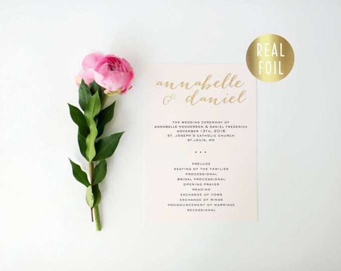 annabelle gold foil wedding programs (sets of 10)  // gold foil modern calligraphy custom luxe romantic wedding program