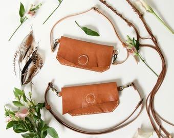 Leather hip bag // Hand stitched vegetable tanned leather hip bag fanny pack travel bag