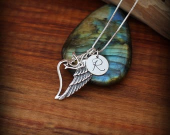 Angel wing necklace. Sterling silver personalized angel wing necklace