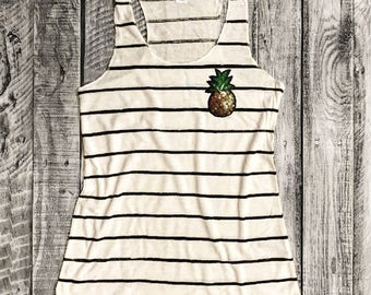 S-XL SEQUIN PINEAPPLE Patch on Ivory/Black Stripe Racerback Tank, Alternative Apparel, Graphic Tee, Screenprint,Gym Shirt,Funny Shirt