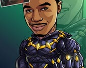 Be The Hero: Black Panther, 24x36 --- custom art, cartoon drawing, superhero portrait, gift for him, poster, illustration, comic, caricature