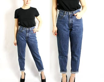 Vintage Dark Blue Washed Out Mom Fit Jeans High Waist