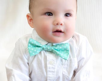 Mint with White Polka Dot Child's Bow Tie