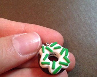Green Donut charms for bracelet polymer clay