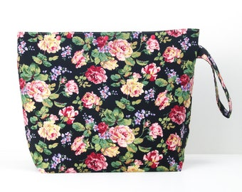 Roses large knitting bag or crochet storage, floral project bag with snaps, yarn craft organiser bag