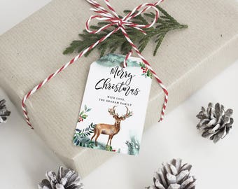 Christmas Tag Template, Christmas Gift Tag Template, Editable Christmas Tag Template, Christmas Tags printable, Holyday Tag Template, CL16
