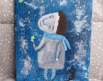 """LITTLE STAR - Original Acrylic Painting 18x24 cm, 7""""x9"""" Portrait Face Painting"""