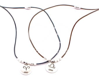 zodiac necklace libra necklace horoscope necklace leather choker zodiac choker star sign birthday astrology birth sign astrological jewelry