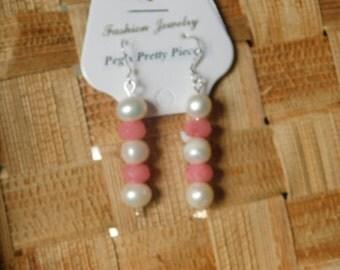 Cultured Pearl Earrings w/ Rose Quartz Beads