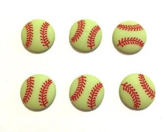 "Softball Buttons (3/4"") Set of 6 Shank Back - 883 B"