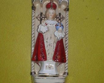 "Vintage 1950s Arnart Creations Japan ""Bless This Home"" Infant of Prague Wall Hanging"