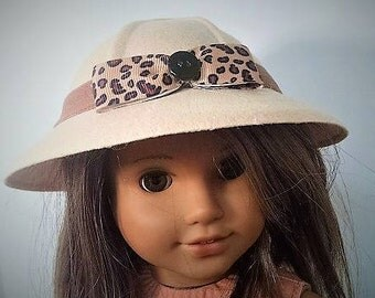 "Hat - 6 1/2"" Felt Safari - Beige Dolly  Hats fora 18 inch doll like the  American Girl Doll"