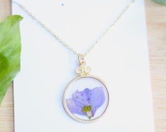 Purple Larkspur Necklace Pressed Flower Jewelry