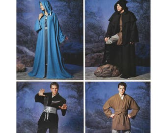 Star War Costume Pattern Jedi Clothes and Robes Halloween Costume Sewing Pattern Simplicity 0606 5840 Mens Misses Chest Bust 30-48 UNCUT