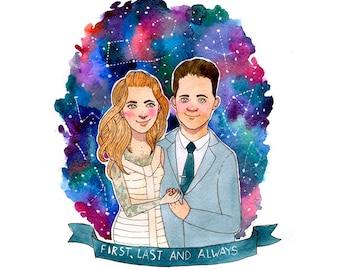 2 Persons ~ Custom Digital Watercolor Portrait, Custom Illustration, Personalised Gift, Wedding gift, Personalized Valentines, Anniversary