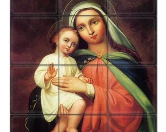 Madonna and Child - mosaic - tile mural - religious tile art - catholic art - Virgin Mary art - catholic painting - Madonna and Child Jesus