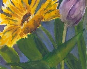 Sunflower with Tulip - Original Watercolor