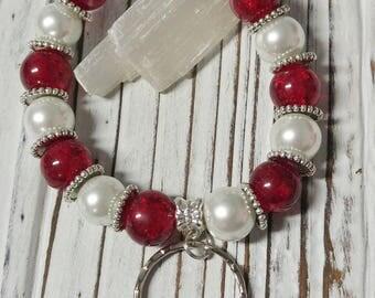 Beaded Key Chain, Bracelet Keychain, Beaded Keychain Bracelet