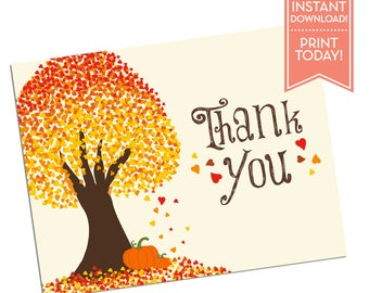 Thank You Card - Little Pumpkin Fall - Printable - Baby Shower Thank You Card - Bridal Shower - Any Occasion - LR1017BA Orange