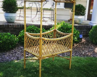 Vintage Bamboo & Rattan Baby Bassinet on Casters with Removable Canopy