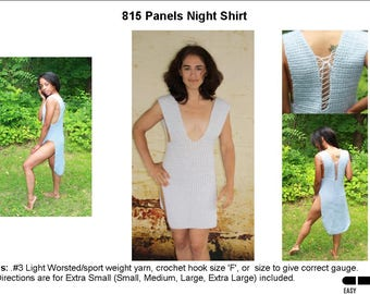 Crochet Panels Night Shirt Pattern   815