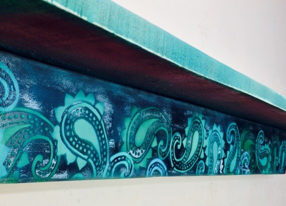 Paisley bookshelves /Custom bookcases /wooden bookshelf /floating shelves wall hanging book morrocan teal decor reclaimed wood geometric art