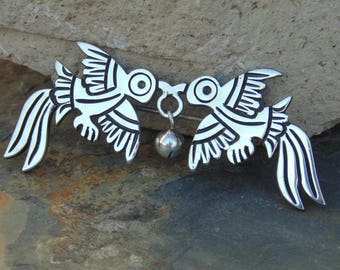 Vintage Taxco 980 Silver Long Tailed Birds Carrying a Bell Brooch / Pin  with C - Clasp c. 1940's