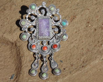 Matl ~ Matilde Poulat - Vintage Mexican Sterling Silver, Amethyst, Coral and Turquoise Hinged Brooch / Pin
