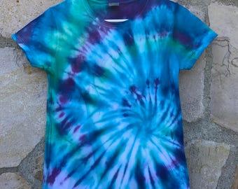 Blueberry Spiral Women's Small Tie Dye Tee Shirt