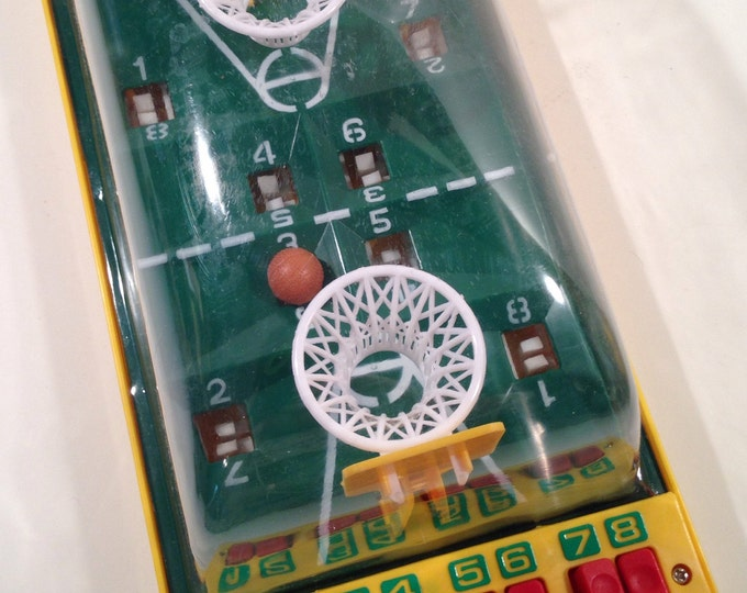 Vintage Playwell 1980's Tabletop Finger Basketball Game for 2 Players a Classic Toy Fun for All Ages offered by Crafts by the Sea.