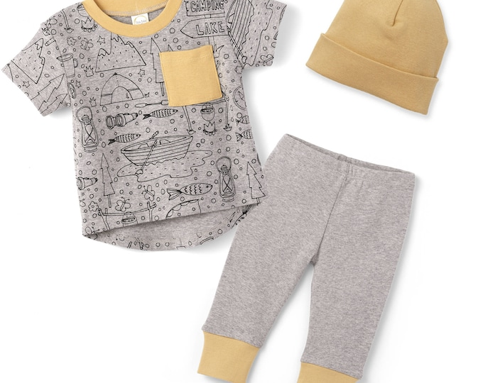 Baby Boy Outfit, Baby Boy Short Sleeve Outfit, Baby Boy Leggings, Newborn Boy Outfit, Happy Camper  TesaBabe