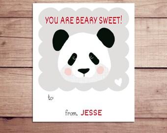 Panda Mini Notes - Panda Valentine's Day Cards - Panda Lunchbox Notes - Panda Flat Mini Notes - Children's Valentines - Teacher Valentines