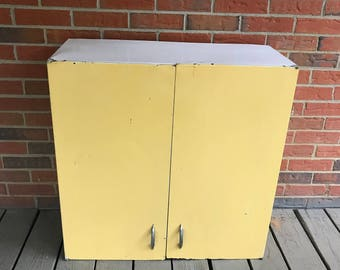 Vintage Wall Mounted Metal Cabinet Two Doors Yellow and White Paint Industrial Retro Decor
