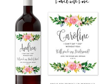 Will you be my Bridesmaid Wine Labels / Maid of Honor Gift / Bridesmaid Proposal Idea / Rustic Wedding Bridal Party Gift