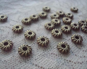 Bronze Pinwheel Abacus Spacers. 7.5x2.5 Choose 36 or 72pc Heavy, Antiqued Bronze, Flat, Well Made Spacer. 2mm Holes. ~USPS Ship Rates/Oregon